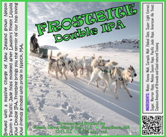 FROSTBITE Double IPA Bottle Label 4x3.3 inches 05 Dogsled2