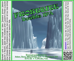 FROSTBITE Double IPA Bottle Label 4x3.3 inches 09 Ice Canyon Penquins
