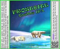 FROSTBITE Double IPA Bottle Label 4x3.3 inches 23 Polar Bears