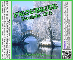FROSTBITE Double IPA Bottle Label 4x3.3 inches 27 Winter Bridge